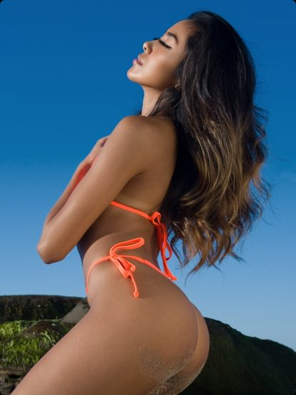 tie side neon orange cheeky bikini