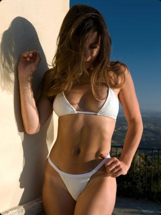 ivory piqué high cut cheeky thong bikini