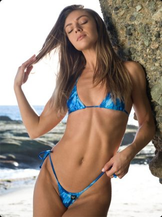 blue feathers tie side micro bikini