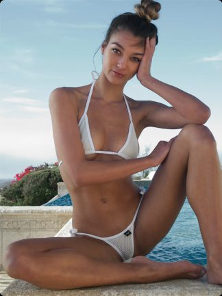 ivory piqué tie side micro bikini