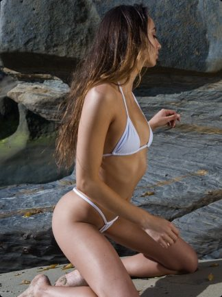white high cut thong