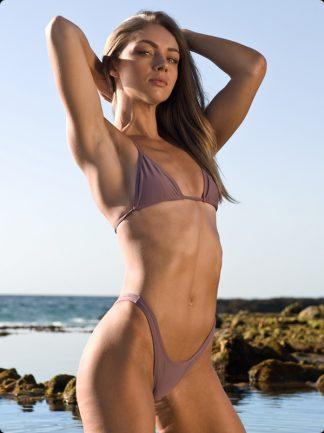 high cut champagne brazilian bikini