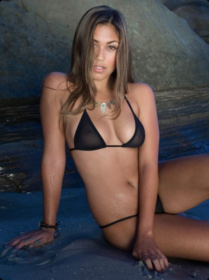 black piqué micro g string bikini