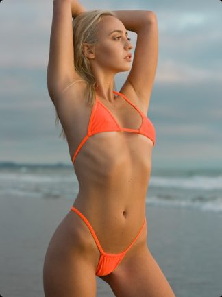 neon orange high cut thong