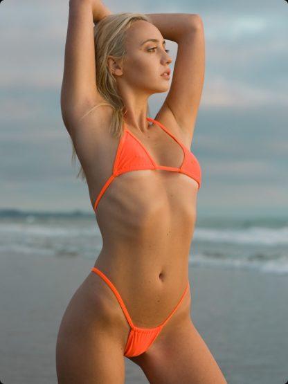 neon orange high cut thong