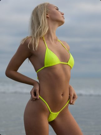 neon yellow high cut thong