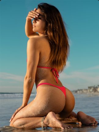 coral high cut cheeky thong bikini