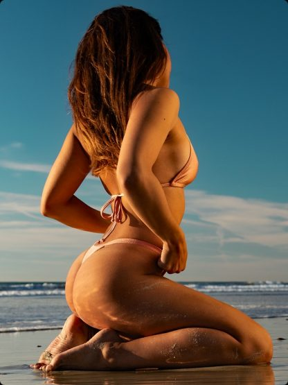 rose gold high cut cheeky thong bikini