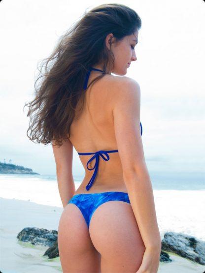 blue feathers cheeky thong bikini