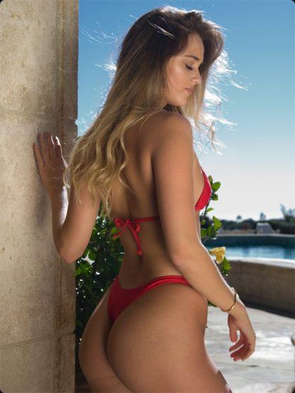 red high cut cheeky bikini