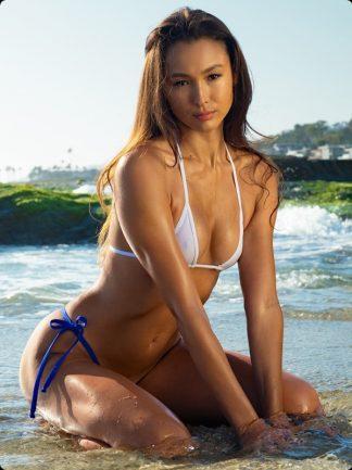 ocean blue tie side thong bikini